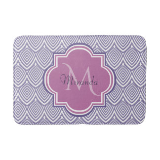 Ultra Violet Arched Scallops Orchid Monogram Name Bath Mat