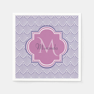Ultra Violet Arched Scallops Orchid Monogram Name Disposable Napkins