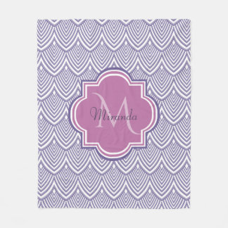 Ultra Violet Arched Scallops Orchid Monogram Name Fleece Blanket