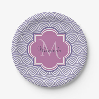Ultra Violet Arched Scallops Orchid Monogram Name Paper Plate