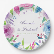 Ultra Violet Colour Combo Watercolor Floral Paper Plate