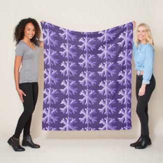 Ultra Violet Fluffy Snowflake Pattern Fleece Blanket