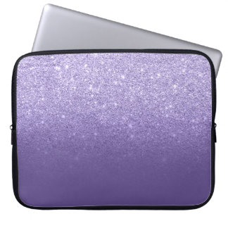 Ultra violet glitter ombre purple color block laptop sleeve