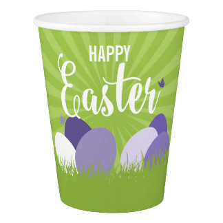 Ultra Violet & Green Easter Paper Cup