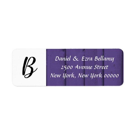 Ultra Violet Monogram Customisable Address Label