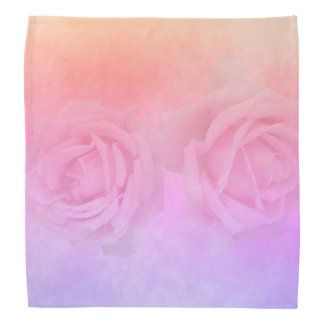 Ultra violet peach and golden gradient with roses bandana