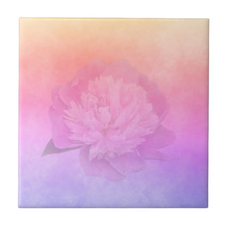 Ultra violet pink and golden peach with peony tile