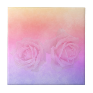 Ultra violet pink and golden peach with roses tile