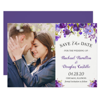 Ultra Violet Purple Floral Photo Save the Date Card