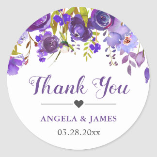 Ultra Violet Purple Floral Wedding Favor Thank You Classic Round Sticker