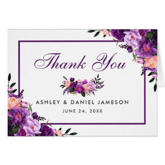Ultra Violet Purple Floral Wedding Thanks Note PF Card