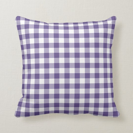 Ultra Violet Purple Gingham Pattern Cushion