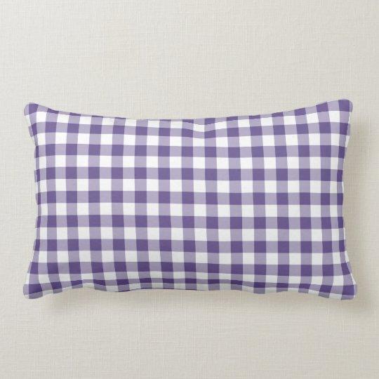 Ultra Violet Purple Gingham Pattern Lumbar Cushion