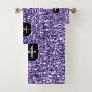 Ultra violet purple glitter sparkles Monogram Bath Towel Set