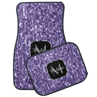 Ultra violet purple glitter sparkles Monogram Car Mat