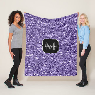 Ultra violet purple glitter sparkles Monogram Fleece Blanket