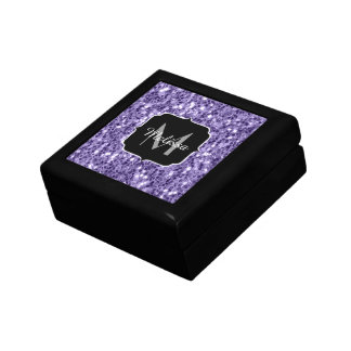 Ultra violet purple glitter sparkles Monogram Gift Box