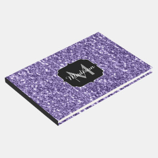 Ultra violet purple glitter sparkles Monogram Guest Book