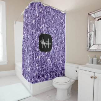 Ultra violet purple glitter sparkles Monogram Shower Curtain