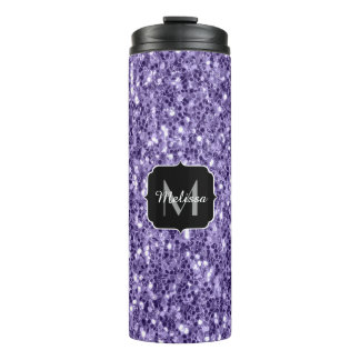 Ultra violet purple glitter sparkles Monogram Thermal Tumbler