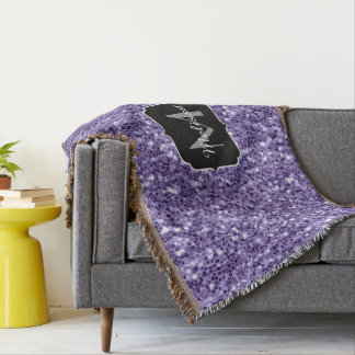 Ultra violet purple glitter sparkles Monogram Throw Blanket