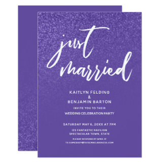 Ultra Violet Purple Just Married Wedding Reception Card