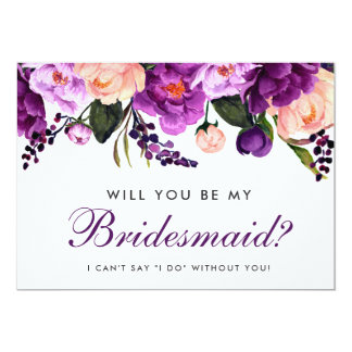 Ultra Violet Purple Watercolor Floral Bridesmaid P Card
