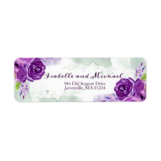 Ultra Violet Rose Floral Return Address Labels