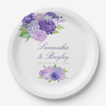Ultra Violet Watercolor Floral Wedding Paper Plate