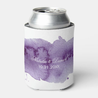 Ultra Violet Watercolor Wedding Can Cooler