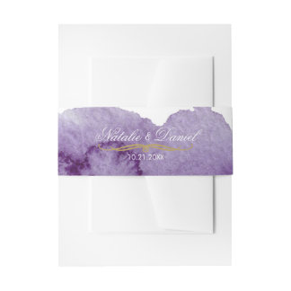 Ultra Violet Watercolor Wedding Invitation Belly Band