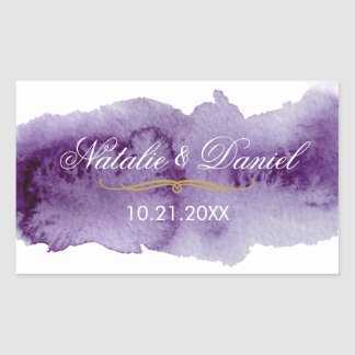 Ultra Violet Watercolor Wedding Rectangular Sticker