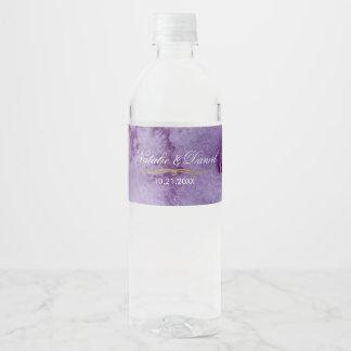 Ultra Violet Watercolor Wedding Water Bottle Label