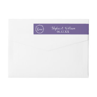 Ultra Violet Wedding Simple Sweet Purple Love Wrap Around Label