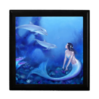 Ultramarine Mermaid and Dolphin Art Keepsake Box