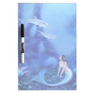 Ultramarine Mermaid and Dolphins Dry Erase Board