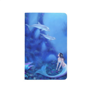Ultramarine Mermaid and Dolphins Pocket Journal