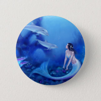 Ultramarine Mermaid Art Pinback Button Badge
