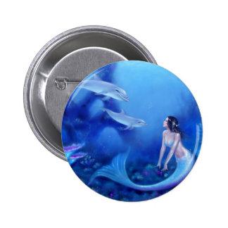 Ultramarine Mermaid Art Pinback Button Badge