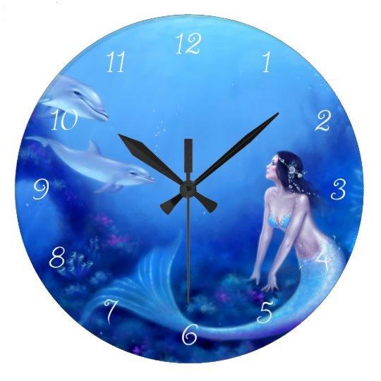 Ultramarine Mermaid Art Wall Clock