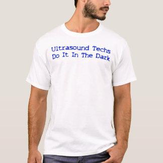 Ultrasound Techs Do It In The Dark Blue logo T-Shirt