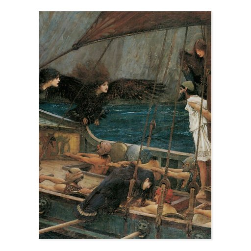 Ulysses and the Sirens by JW Waterhouse Postcard