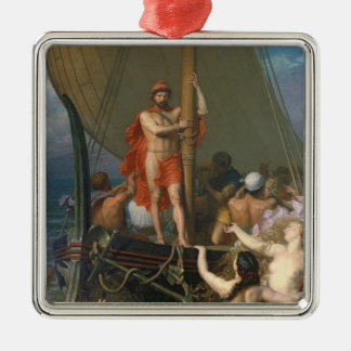 Ulysses and the Sirens Silver-Colored Square Decoration