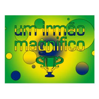 Um Irmão Magnifico Brazil Flag Colors Pop Art Postcards
