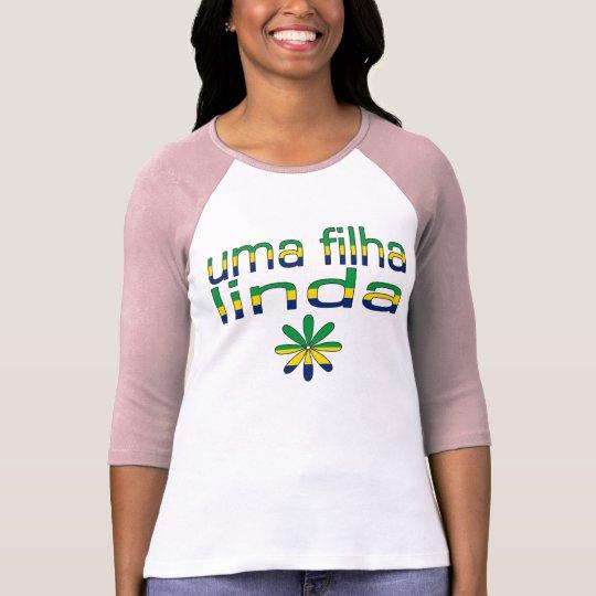 Uma Filha Linda Brazil Flag Colours T-Shirt