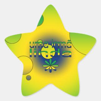 Uma Irmã Linda Brazil Flag Colors Pop Art Star Sticker