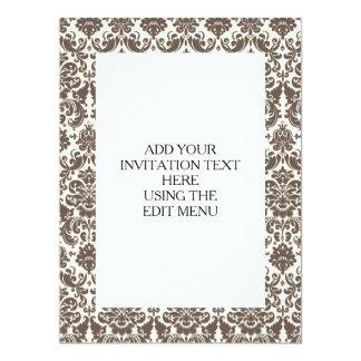 Umber and Ivory Elegant Damask Pattern 17 Cm X 22 Cm Invitation Card