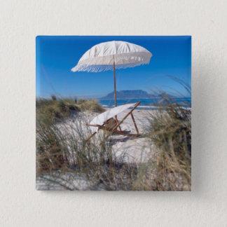 Umbrella And Chair On Beach 15 Cm Square Badge