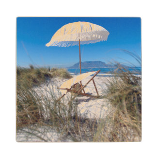 Umbrella And Chair On Beach Wood Coaster