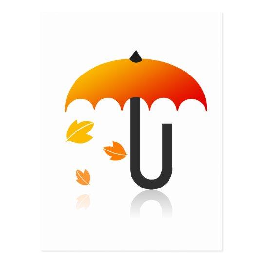 Umbrella and leaves postcard